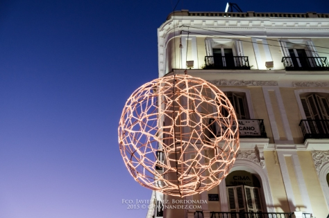 Puerta del Sol square facade building. Madrid, Spain