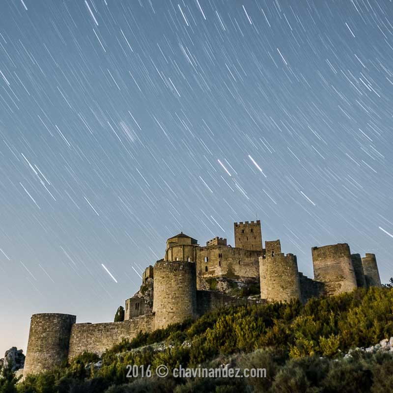 Loarre Castle in the night, Huesca, Aragon, Spain